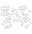 set cute cartoon elephants vector image vector image