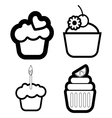 Set of four cakes vector image