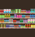 shelves with household chemicals in shop vector image