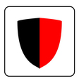 Shield icon red and black 1 vector image vector image