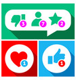 simple buttons with user feedback social network vector image vector image