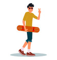 skateboarding boy young man with vector image