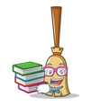 student with book broom character cartoon style vector image vector image
