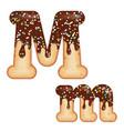 tempting typography font design 3d donut letter m vector image vector image