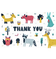 thank you card with cute forest animals woodland vector image