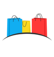 Three multicolored shopping bags like emblem vector image vector image