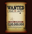 wanted vintage poster on parchment vector image vector image