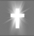 white cross with glow symbol christianity vector image vector image