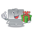 with gift open styrofoam in character box vector image vector image