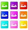 women sandale icons 9 set vector image vector image