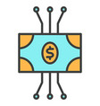 cryptocurrency banknote line icon vector image