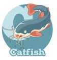 abc cartoon catfish vector image