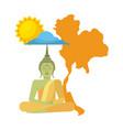 thailand buddha map sun cloud vector image