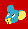 a mouse cartoon face on red background vector image vector image