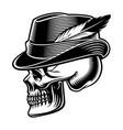 a skull in hat with feather vector image vector image