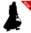 african woman silhouette carrying her son on back vector image