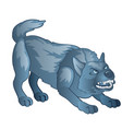 angry gray dog bares his teeth animated werewolf vector image vector image