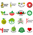 biggest collection of logos healthy eating vector image vector image