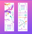 boho style guide set banners vector image vector image