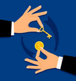 businessman hands giving money for key vector image vector image