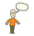 cartoon annoyed old man with speech bubble vector image vector image