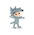 cartoon little boy or girl in gray wolf costume vector image
