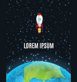 cartoon spacecraft with earth vector image