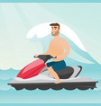 caucasian man riding on a water scooter in the sea vector image vector image