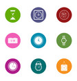 change the time icons set flat style vector image