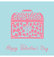 Chest with hearts Happy Valentines Day card Blue vector image vector image