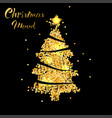 christmas tree in gold texture with star vector image