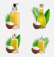 coconut oil bottle set realistic vector image
