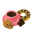 coffee cup and sweets delicious modern vector image vector image