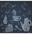 Coffee time set card vector image