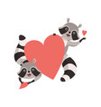 cute little raccoons holding big red heart funny vector image