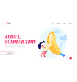exotic tropical fruits eating landing page vector image