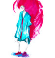 fashion girl in sketch-stylewatercolor vector image vector image
