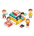 featuring kids reading books vector image vector image