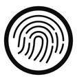 fingerprint icon simple style vector image