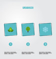 flat icons eco energy wood winter snow and other vector image vector image