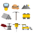flat style equipment tool mining graphic set vector image