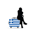 girl siting on travel bag with greece flag vector image vector image
