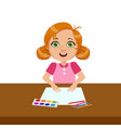 girl with paper paint and brush elementary vector image vector image