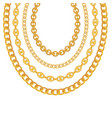 gold chain jewelry on white background vector image vector image