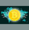 golden bitcoin digital currency and world globe vector image