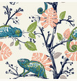 hand drawn seamless pattern with chameleons and vector image