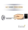hand unlock key success business vector image vector image