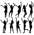 happy dancing women silhouettes with hands up vector image