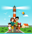 Happy family with lighthouse on background