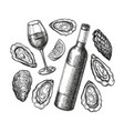 ink sketch wine and oysters vector image vector image
